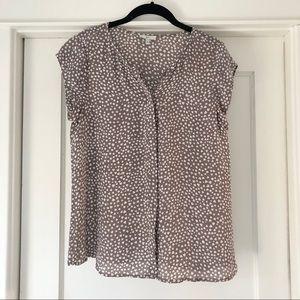 Silk short sleeve button down blouse